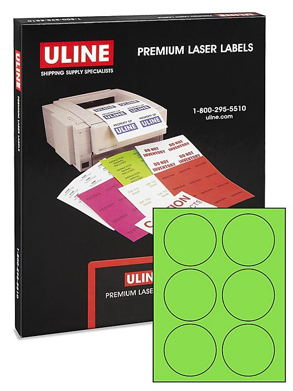 "Uline Circle Laser Labels - Fluorescent, 3"""