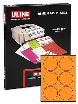 """Uline Circle Laser Labels - Fluorescent Orange, 3"""" S-10416O"""