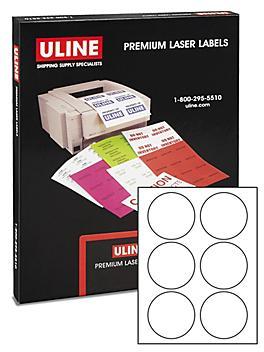 "Uline Circle Laser Labels - White, 3"" S-10417"