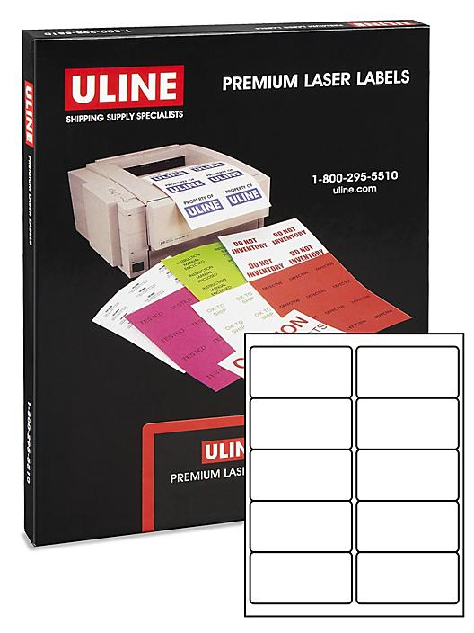 """Uline Laser Labels - Glossy White, 4 x 2"""" S-10421"""