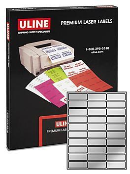 """Uline Foil Laser Labels - Silver, 2 5/8 x 1"""" S-10425SIL"""