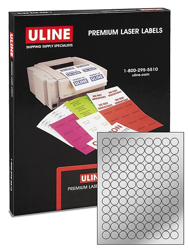 "Uline Foil Circle Laser Labels - Silver, 3/4"" S-10429SIL"