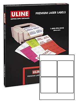 """Uline Laser Labels - White, 4 x 4"""" S-10437"""