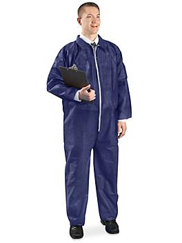 Uline Economy Coverall, Zip Front - Navy, Large S-10484NB-L