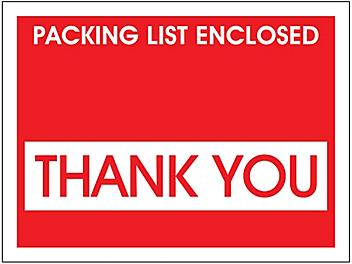 """Packing List Envelopes - """"Packing List Enclosed - Thank You"""", Red, 4 1/2 x 5 1/2"""" S-11193"""