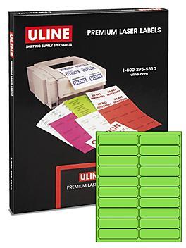 "Uline Laser Labels - Fluorescent Green, 4 x 1"" S-11246G"