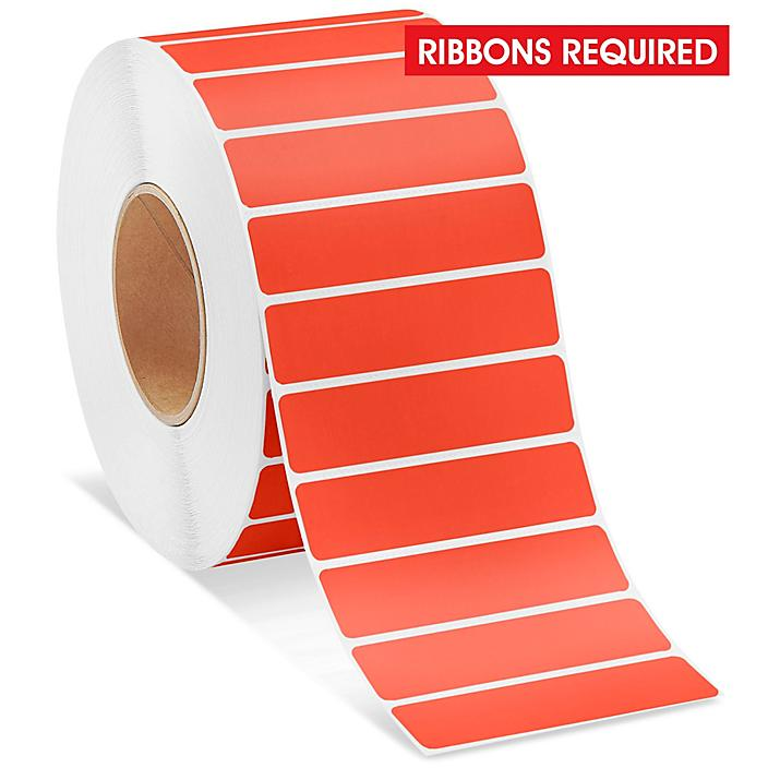 """Industrial Thermal Transfer Labels - Red, 4 x 1"""", Ribbons Required S-11265R"""