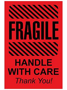 """""""Fragile/Handle with Care/Thank You"""" Label - 2 x 3"""" S-11389"""