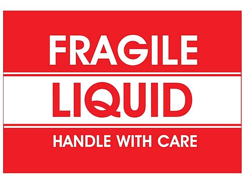 """Fragile Liquid/Handle with Care"" Label - 3 x 5"" S-11444"