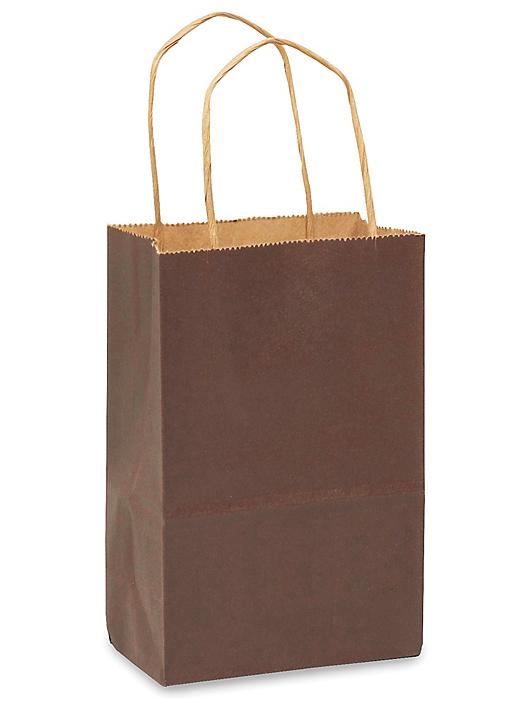 """Kraft Tinted Color Shopping Bags - 5 1/2 x 3 1/4 x 8 3/8"""", Rose, Chocolate S-12554CHOC"""