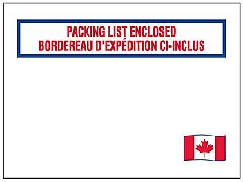 "Canadian Flag Packing List Envelopes - 4 1/2 x 5 1/2"" S-13034"