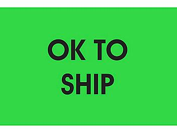 """Inventory Control Labels - """"OK to Ship"""", 2 x 3"""" S-13115"""