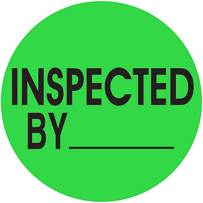 """Circle Inventory Control Labels - """"Inspected By _____"""", 2"""" S-13120"""