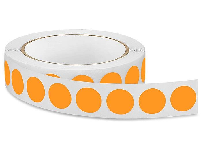 """Removable Adhesive Circle Labels - Fluorescent Orange,  3/4"""" S-13122O"""
