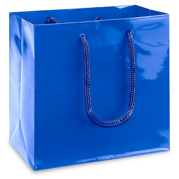 "High Gloss Shopping Bags - 6 1/2 x 3 1/2 x 6 1/2"", Mini, Blue S-13127BLU"