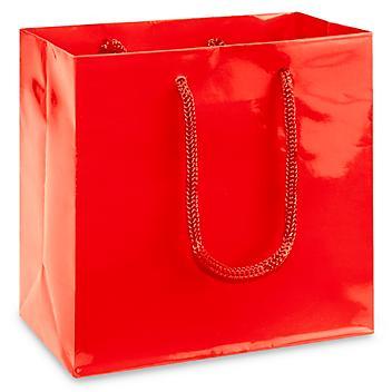 "High Gloss Shopping Bags - 6 1/2 x 3 1/2 x 6 1/2"", Mini, Red S-13127R"