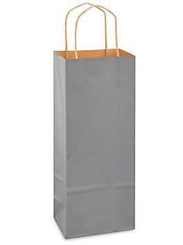 """Kraft Tinted Color Shopping Bags - 5 1/2 x 3 1/4 x 13"""", Wine, Gray S-13143GR"""