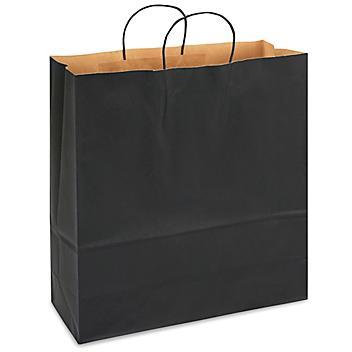 "Kraft Tinted Color Shopping Bags - 18 x 7 x 18 3/4"", Jumbo, Black S-13144BL"