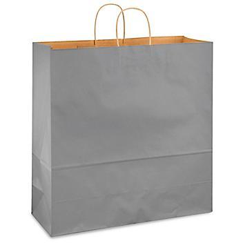 "Kraft Tinted Color Shopping Bags - 18 x 7 x 18 3/4"", Jumbo, Gray S-13144GR"