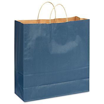 "Kraft Tinted Color Shopping Bags - 18 x 7 x 18 3/4"", Jumbo, Navy Blue S-13144NB"