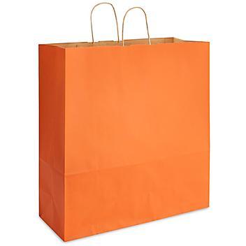 "Kraft Tinted Color Shopping Bags - 18 x 7 x 18 3/4"", Jumbo, Orange S-13144O"