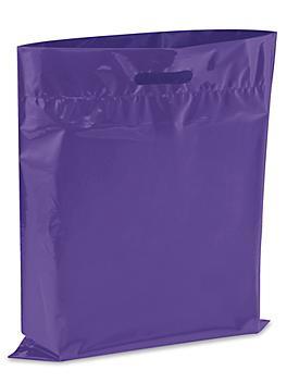 """Die Cut Handle Bags - 15 x 18"""", Purple S-13156PUR"""