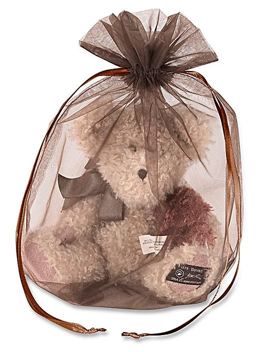 "Organza Fabric Bags - 10 x 12"", Chocolate S-13169CHOC"