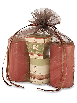 "Organza Fabric Bags - 12 x 14"", Chocolate S-13170CHOC"