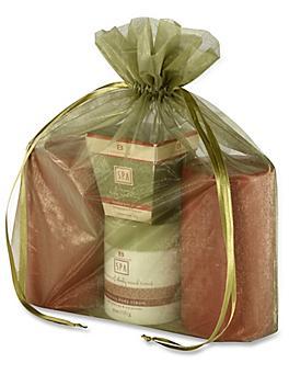 "Organza Fabric Bags - 12 x 14"", Moss S-13170M"