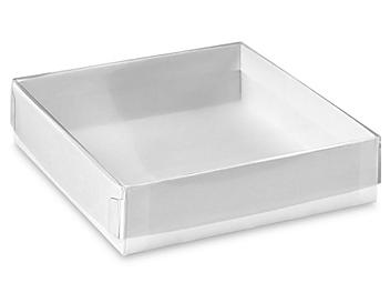 """Clear Lid Boxes with White Base - 4 x 4 x 1"""" S-13198"""