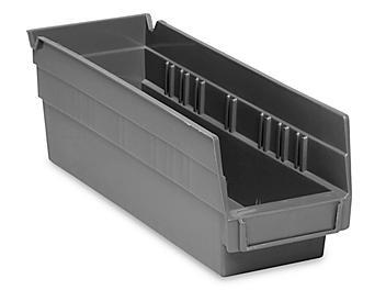 """Plastic Shelf Bins - 4 x 12 x 4"""", Black S-13396BL"""