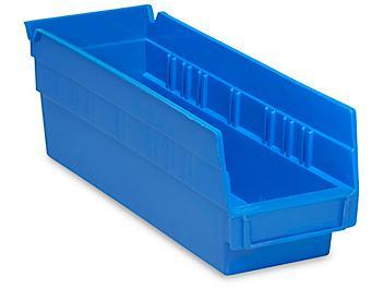 """Plastic Shelf Bins - 4 x 12 x 4"""", Blue S-13396BLU"""