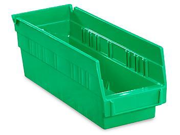 """Plastic Shelf Bins - 4 x 12 x 4"""", Green S-13396G"""