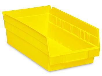 """Plastic Shelf Bins - 7 x 12 x 4"""", Yellow S-13397Y"""