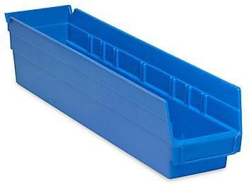 """Plastic Shelf Bins - 4 x 18 x 4"""", Blue S-13399BLU"""