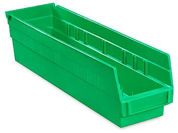 """Plastic Shelf Bins - 4 x 18 x 4"""", Green S-13399G"""