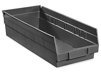 """Plastic Shelf Bins - 7 x 18 x 4"""", Black S-13400BL"""