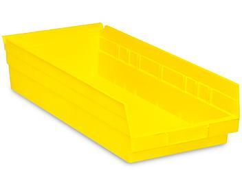 """Plastic Shelf Bins - 8 1/2 x 18 x 4"""", Yellow S-13401Y"""