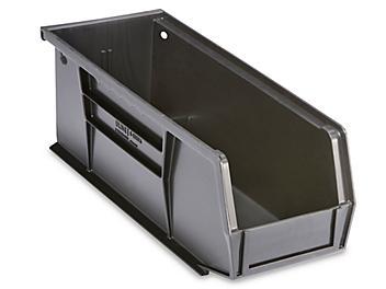 "Plastic Stackable Bins - 11 x 4 x 4"", Black S-13536BL"