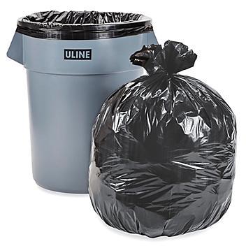 Uline Industrial Trash Liners - 55-60 Gallon, 1.5 Mil, Black S-13577