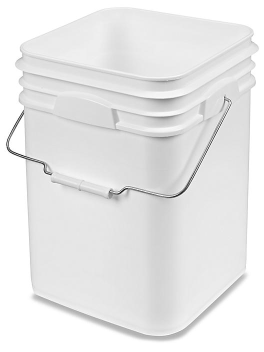 Square Pail - 4 Gallon, White S-13650W