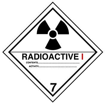"""D.O.T. Labels - """"Radioactive I"""", 4 x 4"""" S-13847"""