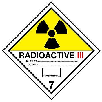 "D.O.T. Labels - ""Radioactive III"", 4 x 4"" S-13849"