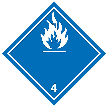 "International Labels - Water Reactive Substances, 4 x 4"" S-13856"