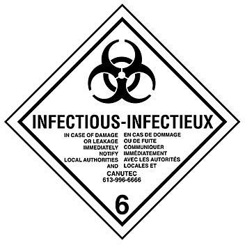 """T.D.G. Labels - Infectious Substance, 4 x 4"""" S-13862"""