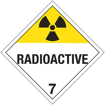 "T.D.G. Placard - ""Radioactive"", Adhesive Vinyl S-13921V"