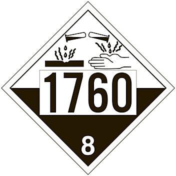 4-Digit International Placard - UN 1760 Corrosive Liquid, Tagboard S-13924T