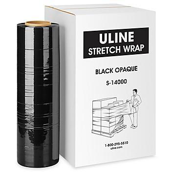 """Uline Handwrap - Cast, 120 gauge, 18"""" x 1,000', Black Opaque S-14000"""