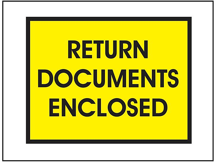 """Packing List Envelopes - """"Return Documents Enclosed"""", Yellow, 7 1/2 x 5 1/2"""" S-15065"""