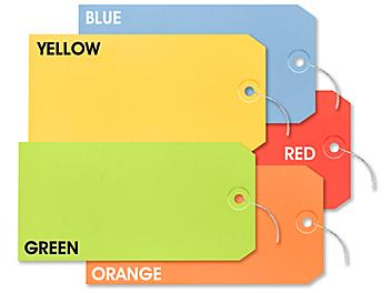 """Assorted Color Shipping Tags - #8, 6 1/4 x 3 1/8"""", Pre-wired S-15230PW"""